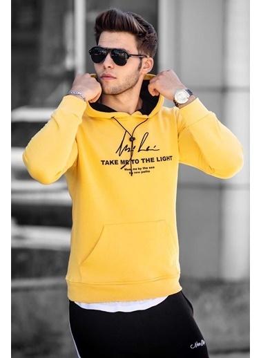 Madmext   Baskılı Kapüşonlu Sweatshirt 4723 Sarı